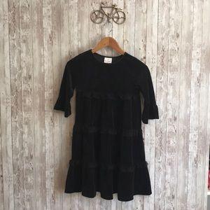 Hanna Andersson Black velvet tiered dress
